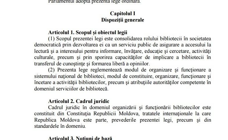 proiectul de Lege cu privire la biblioteci
