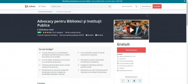 Interfata curs online Advocacy