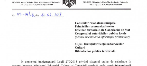 aplicarea prevederilor noii Legi pentru angajatii din domeniul Cultura (1)